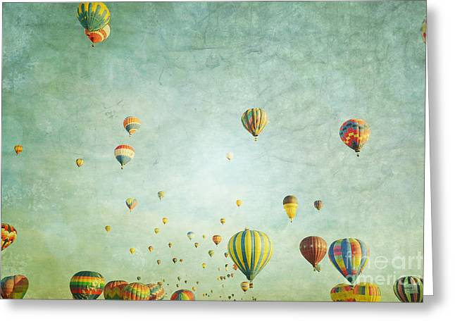 Celebration Art Print Greeting Cards - Balloon Fantasy Greeting Card by Andrea Hazel Ihlefeld