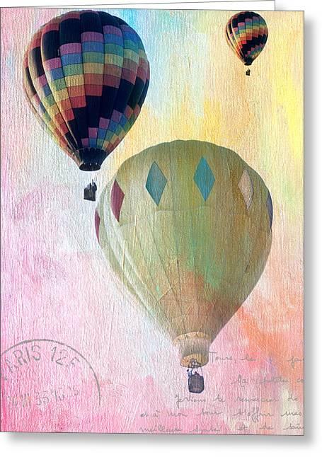 Three Hot Air Balloons Greeting Cards - Balloon Flight Greeting Card by James Bethanis