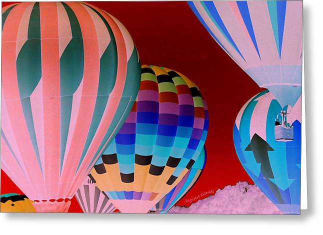 Smyrna Greeting Cards - Balloon Glow I Inverted Greeting Card by DigiArt Diaries by Vicky B Fuller