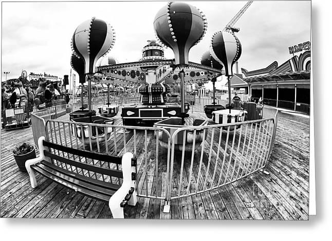 Balloon Ride at Seaside Greeting Card by John Rizzuto