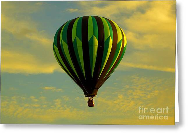 Balloon Ride Through Gold Clouds Greeting Card by Robert Frederick