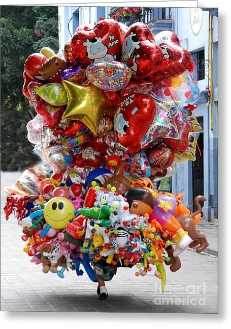 Balloon Vendor Greeting Cards - Balloon Vendor Greeting Card by Steve Goldstrom