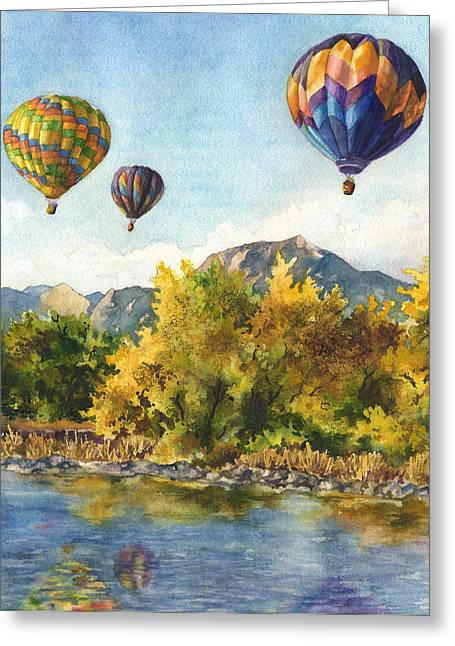 Fall Trees Greeting Cards - Balloons at Twin Lakes Greeting Card by Anne Gifford