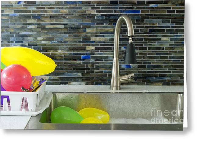 Balloons In A Kitchen Sink Greeting Card by Marlene Ford