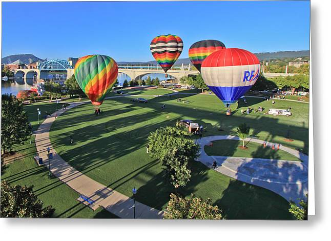 Riverpark Greeting Cards - Balloons in Coolidge Park Greeting Card by Tom and Pat Cory