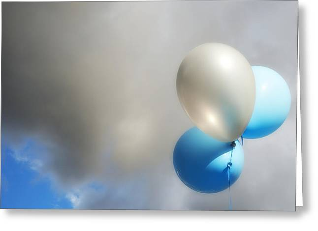 Overcast Day Greeting Cards - Balloons in the Sky Greeting Card by Marlene Ford