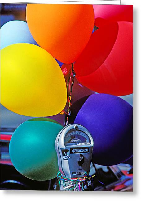 Red Balloons Greeting Cards - Balloons tied to parking meter Greeting Card by Garry Gay