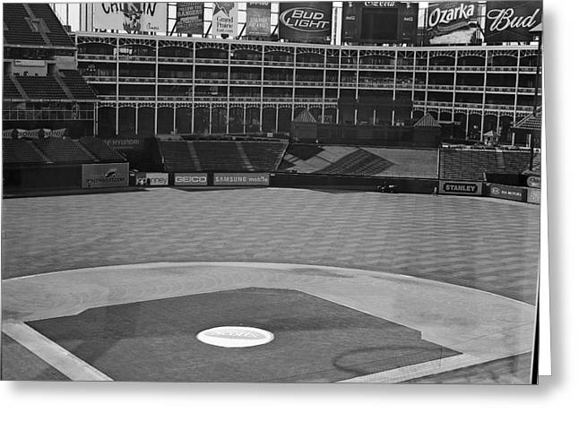 World Series Art Print Greeting Cards - Ballpark Black White Greeting Card by Malania Hammer