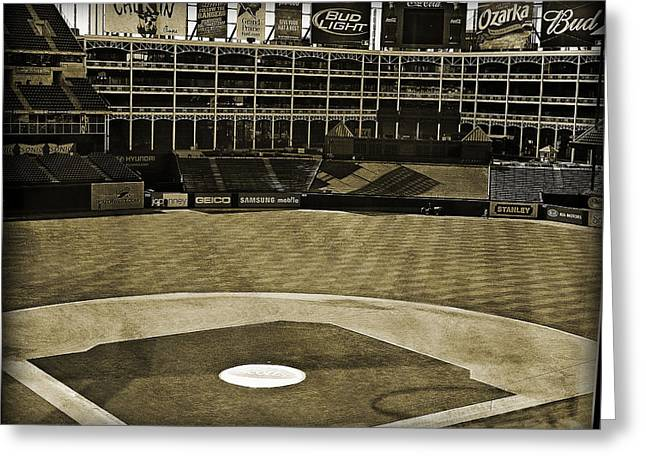 World Series Art Print Greeting Cards - Ballpark Grunge Greeting Card by Malania Hammer