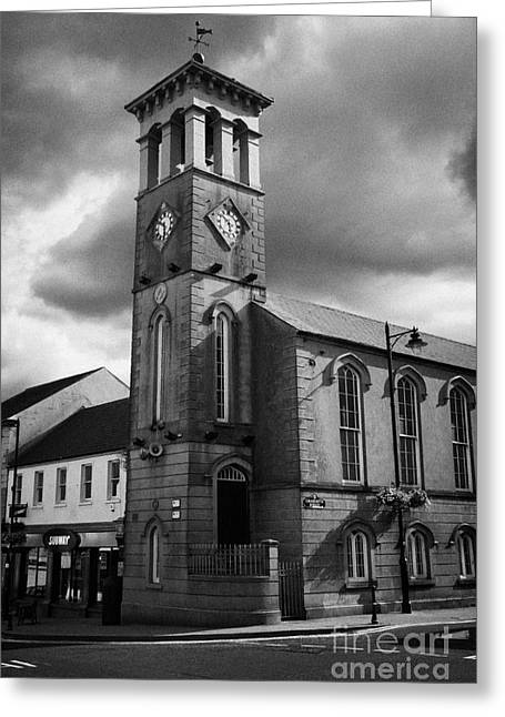 Ballymoney Greeting Cards - Ballymoney Town Clock Tower And Masonic Hall County Antrim Northern Ireland Greeting Card by Joe Fox