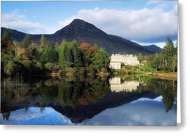 Reflections In River Greeting Cards - Ballynahinch Castle Hotel, Twelve Bens Greeting Card by The Irish Image Collection