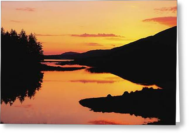 Trees Reflecting In Water Greeting Cards - Ballynahinch Lake, Connemara, Co Greeting Card by The Irish Image Collection