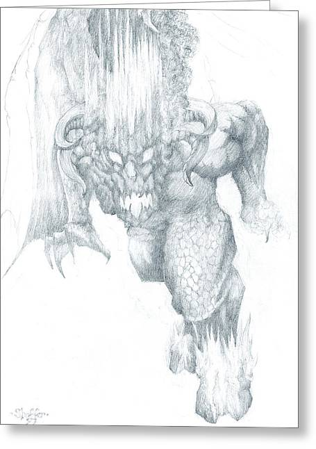 Jrr Tolkien Greeting Cards - Balrog Sketch Greeting Card by Curtiss Shaffer