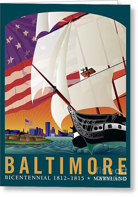 Star-spangled Banner Greeting Cards - Baltimore - By the Dawns Early Light Greeting Card by Joe Barsin