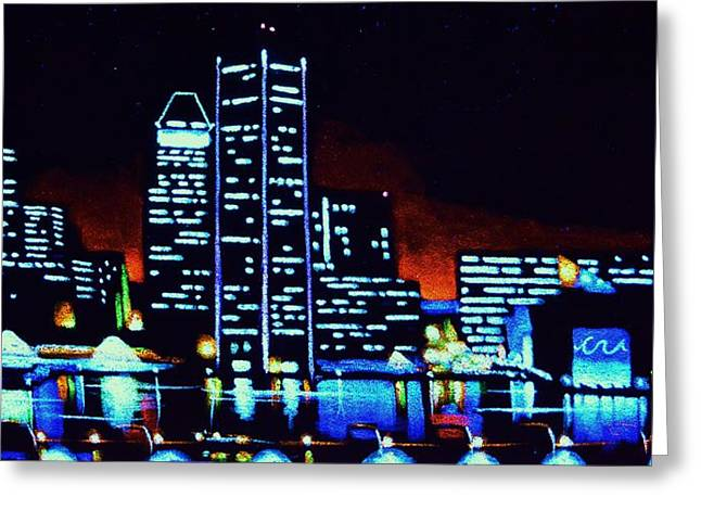 Baltimore By Black Light Greeting Card by Thomas Kolendra