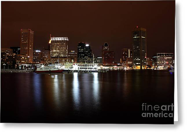 Val Armstrong Greeting Cards - Baltimore Inner Harbor Greeting Card by Val Armstrong