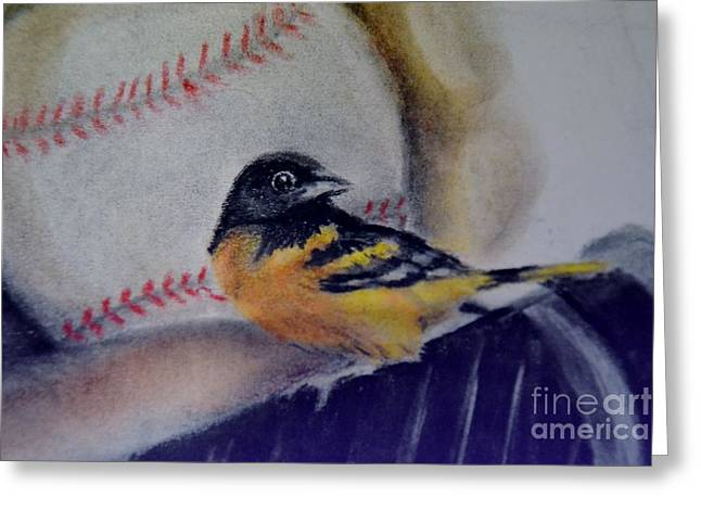 Oriole Pastels Greeting Cards - Baltimore Orioles Greeting Card by AE Hansen