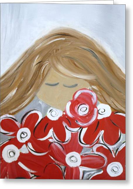 Roll Tide Paintings Greeting Cards - Bama Girl with flowers Greeting Card by Tracy Leventry