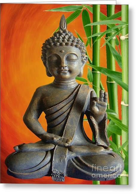 Relaxen Greeting Cards - Bamboo Buddha Greeting Card by Sandra Beikirch
