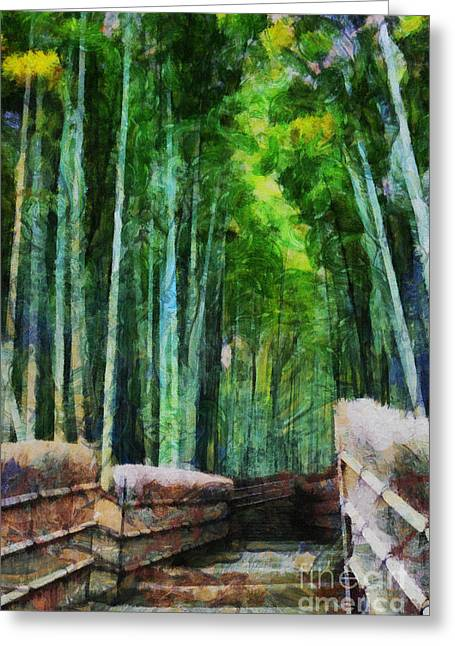 Bamboo Fence Digital Greeting Cards - Bamboo Forest Greeting Card by Cathleen Cawood