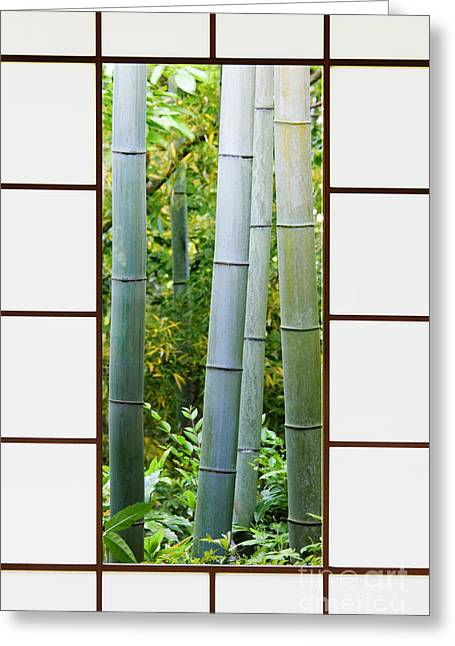 Bamboo House Photographs Greeting Cards - Bamboo Forest Through a Rice Paper Window Greeting Card by Jeremy Woodhouse