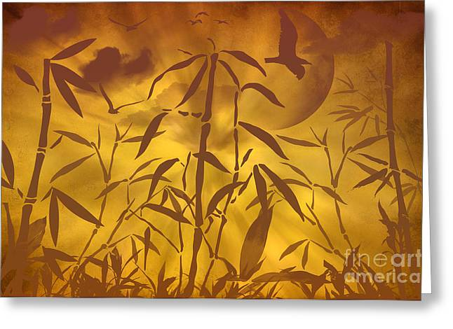 Brown Tones Mixed Media Greeting Cards - Bamboo Garden II Greeting Card by Angela Doelling AD DESIGN Photo and PhotoArt
