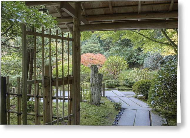 Recently Sold -  - Bamboo Fence Greeting Cards - Bamboo Gate And Traditional Arch Greeting Card by Douglas Orton