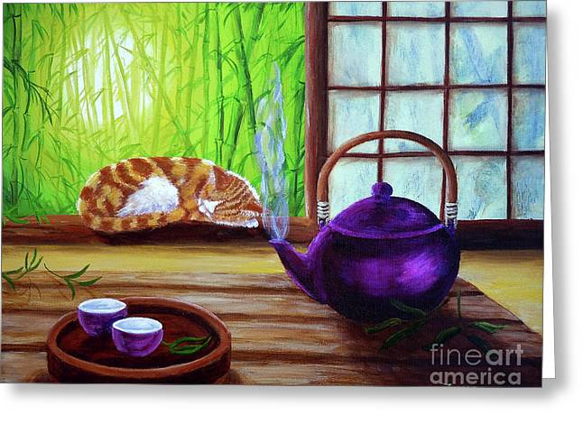 Best Sellers -  - Bamboo House Greeting Cards - Bamboo Morning Tea Greeting Card by Laura Iverson