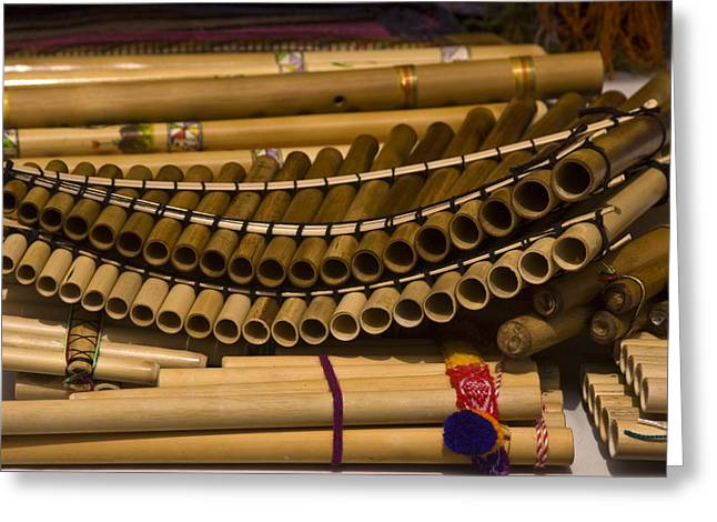 Panpipes Greeting Cards - Bamboo Pan Flutes At An Outdoor Market Greeting Card by Todd Gipstein