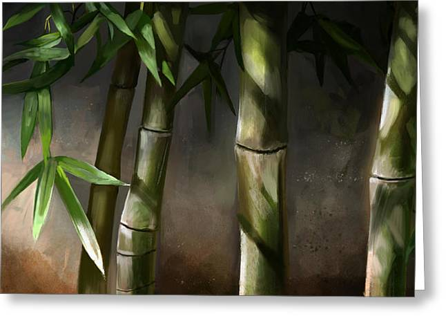 Green Bamboo Greeting Cards - Bamboo Stalks Greeting Card by Steve Goad