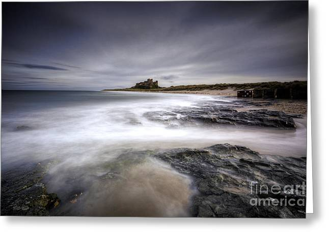 Sand Castles Greeting Cards - Bamburgh Castle Greeting Card by Roddy Atkinson