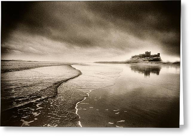 Ghostly Greeting Cards - Bamburgh Castle Greeting Card by Simon Marsden