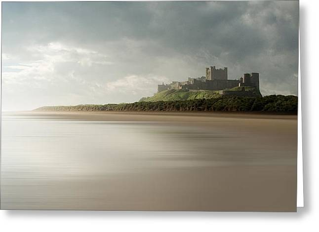Sand Castles Greeting Cards - Bamburgh Castle Greeting Card by Wayne Molyneux