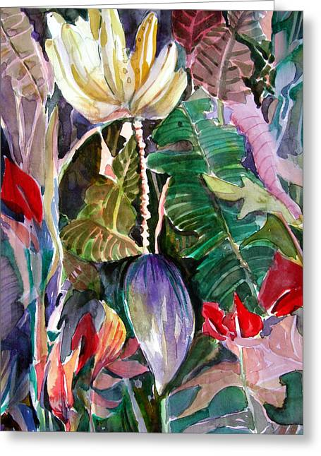 Banana Plants Greeting Cards - Banana and Pods Greeting Card by Mindy Newman