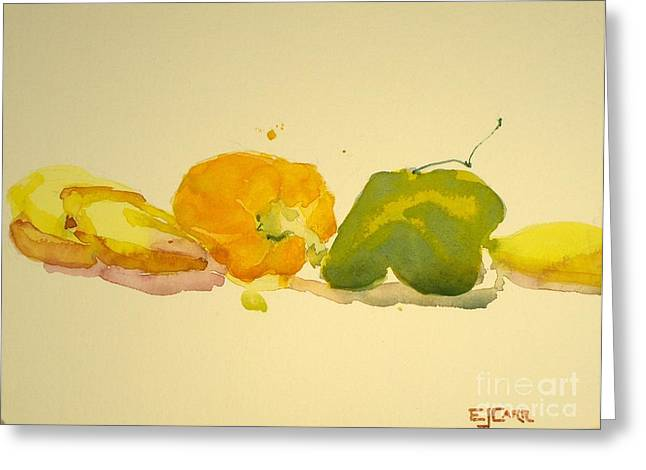 Elizabeth Carr Greeting Cards - Bananas and Peppers Line Up Greeting Card by Elizabeth Carr
