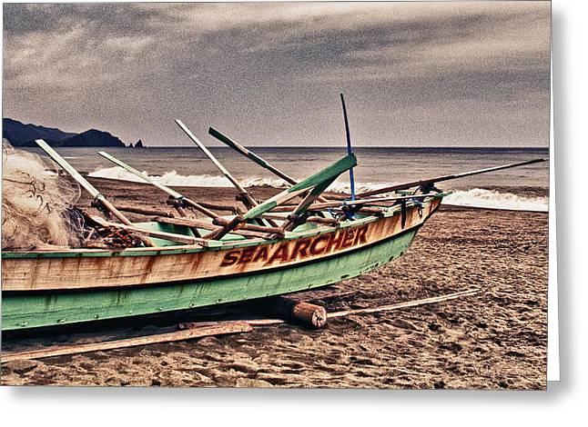 China Beach Greeting Cards - Banca Boat 2 Greeting Card by Skip Nall