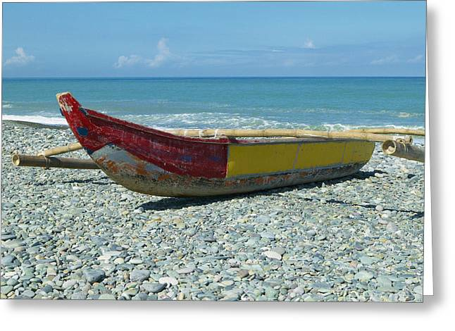 Union Square Greeting Cards - Banca Boat on a Stony Shore Greeting Card by Skip Nall