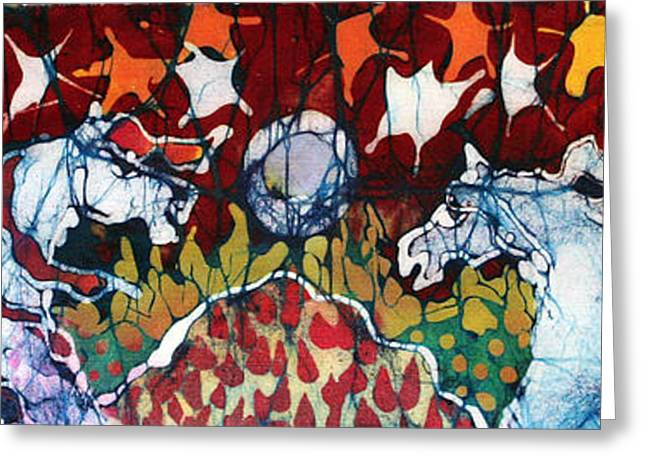 Orange Tapestries - Textiles Greeting Cards - Band of Horses Greeting Card by Carol Law Conklin