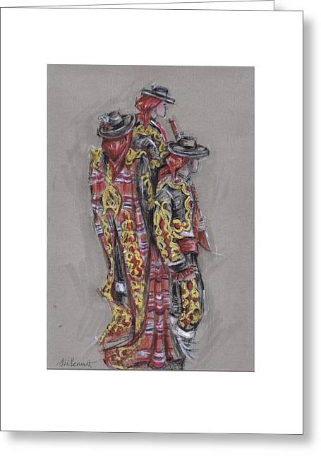 Procession Framed Prints Greeting Cards - Bandolero Boys or Chicos de Los Bandoleros Greeting Card by Jill Bennett