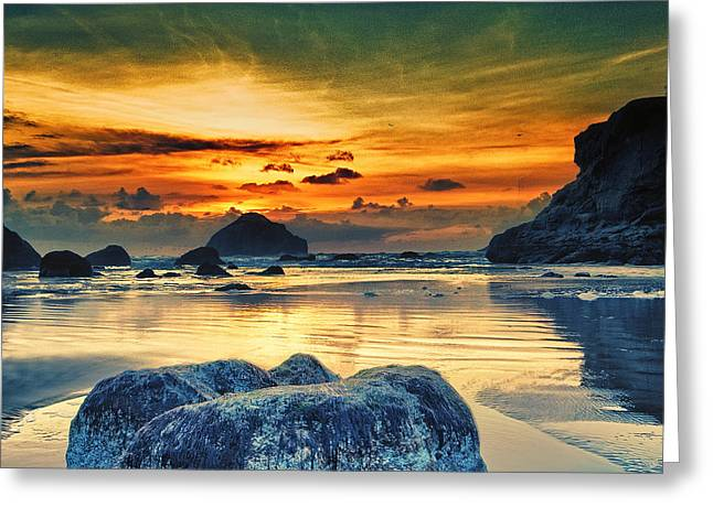 Stacked Rocks Greeting Cards - Bandon at Sunset Greeting Card by Alvin Kroon