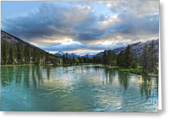 Gregory Dyer Greeting Cards - Banff and the Bow River - 01 Greeting Card by Gregory Dyer