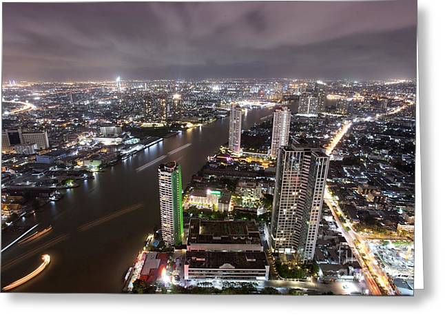 Bangkok City At Twilight  Greeting Card by Anek Suwannaphoom
