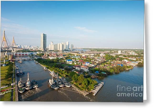Riverside Building Greeting Cards - Bangkok Senic Greeting Card by Atiketta Sangasaeng