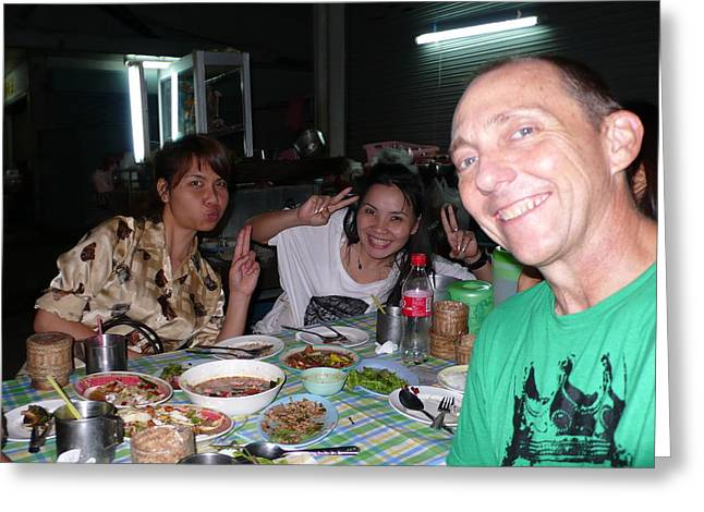 Bangkok Sidewalk Dinner with Spicy Friends Greeting Card by Gregory Smith