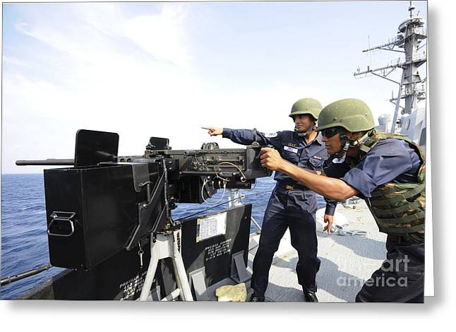 Bangladesh Greeting Cards - Bangladesh Navy Sailors Fire Greeting Card by Stocktrek Images