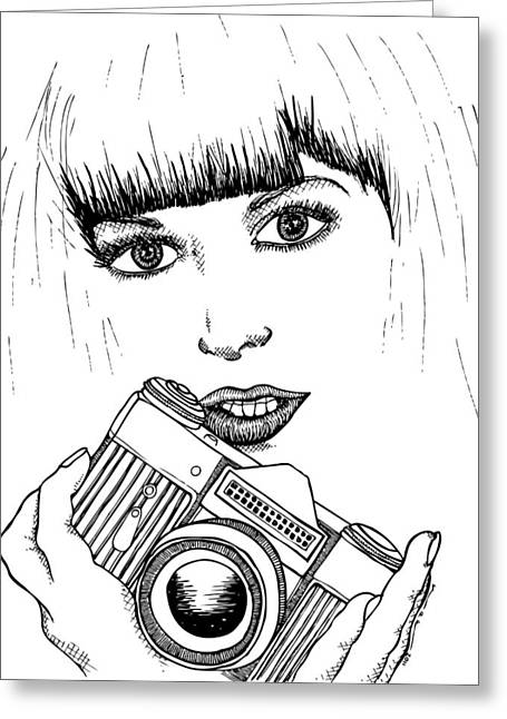 Ink Outlines Greeting Cards - Bangs and Camera Greeting Card by Karl Addison