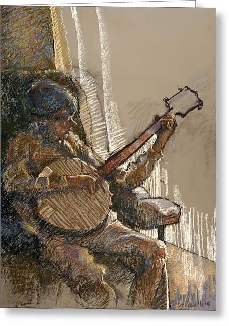 Boy Pastels Greeting Cards - Banjo Boy Greeting Card by Ellen Dreibelbis