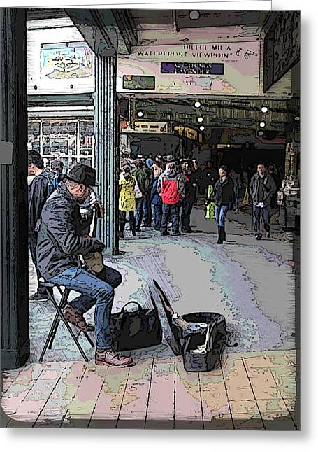 Jagged Border Greeting Cards - Banjo Busker At The Market Greeting Card by Tim Allen