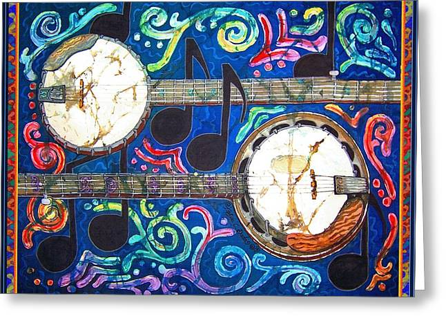 Old Tapestries - Textiles Greeting Cards - Banjos - Bordered Greeting Card by Sue Duda