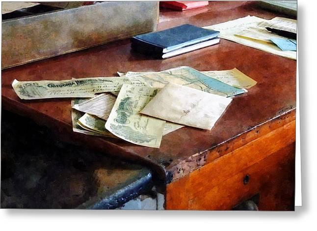 Bank Checks Dated 1923 Greeting Card by Susan Savad